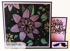 Side stepper card. Made using Colourista Dark premium pencil pad - Exquisite Florals and Spectrum Noir Metallic pencils. Due to launch on Hochanda TV on 27.02.17 #crafterscompanion #spectrumnoir #spectrumnoircolourista