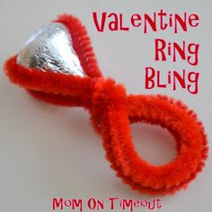 """""""Bring On The Bling Valentine Ring""""{Craft Tutorial from Mom On Timeout}.Might be challenging with regard to fine motor skills, but this was too cute not to post! Umm can I say valentine. Valentines Day Party, Valentine Day Crafts, Be My Valentine, Holiday Crafts, Holiday Fun, Valentine Ideas, Homemade Valentines, Holiday Ideas, Printable Valentine"""