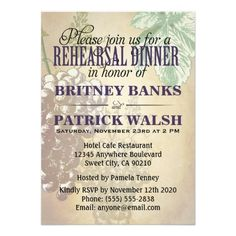 Shop Tuscan Winery Wedding Rehearsal Dinner Invitations created by natureprints. Winery Wedding Invitations, Vintage Invitations, Rehearsal Dinner Invitations, Wedding Rehearsal, Wedding Invitation Wording, Elegant Invitations, Rehearsal Dinners, Bridal Shower Invitations, Invites