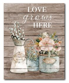 Courtside Market Love Grows Here Wrapped Canvas Canvas Frame, Canvas Wall Art, Flower Prints, Wrapped Canvas, Art Pieces, Place Card Holders, Decals, Art Gallery, Flowers