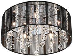"Possini Black Thread Crystal Halogen 15"" Wide Ceiling Light - EuroStyleLighting.com"