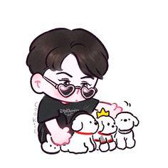 Exo Cartoon, Cartoon Fan, Exo Stickers, Baekhyun Fanart, Chibi Body, Exo Anime, Anime Art, Sehun Cute, Cute Little Drawings