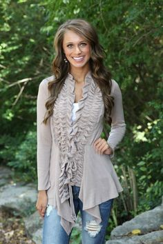 Taupe Ruffle Cardigan – The Chic Find