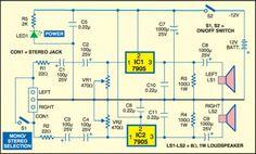 1watt 7905 stereo amplifier circuit schematic