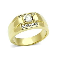 Presidential Seal 18kt Gold EP Clear Crystal Stones Ring