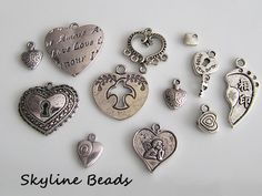 Tibetan Heart Charms / Pendants  Antique Silver by SkylineBeads, $3.75