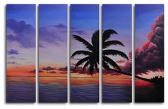 Coconut Tree Look Out 5 Piece Original Painting on Wrapped Canvas Set