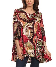 Another great find on #zulily! Burgundy Abstract Boatneck Tunic - Women & Plus #zulilyfinds