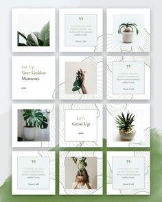 Botanical Instagram Puzzle Template PSD Instagram Feed Planner, Instagram Feed Ideas Posts, Instagram Feed Layout, Feeds Instagram, Instagram Grid, Instagram Post Template, Instagram Design, Organizar Instagram, Web Design