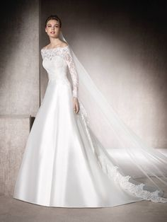 St. Patrick Classic Long Lace Sleeve Off the Shoulder A-line Mikado Skirt Wedding Dress MORENA