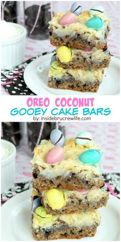 Oreo cookies and coconut M&M's make these coconut gooey cake bars a ...