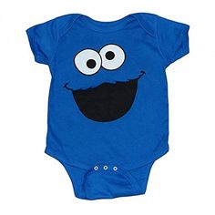 Cookie Monster Face Infant Onesie Romper-18 months. Color: Blue. Material: 100% Cotton. Size: Newborn / Infant. Fit: Standard.