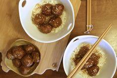 Teriyaki Meatballs: Homemade Meatballs served over whole grain rice. Better than takeout!
