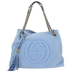 Pre-owned Gucci Soho Suede 308982ahhhg Shoulder Bag ($1,215) ❤ liked on Polyvore featuring bags, handbags, shoulder bags, mineral blue, shoulder bag purse, gucci shoulder bag, pre owned handbags, blue suede purse and gucci