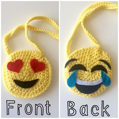 Emoji crochet purse, toddler purse, kids purse, yellow, heart eyes purse…