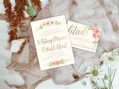 Qty 25 - Watercolor Florals, Gold Foil, Wedding Invitation, Floral Wedding Invitation, Romantic Wedding Invitations