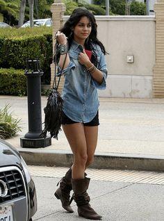 Vanessa Hudgens Denim Shirt Celebrity Style Woman's Fashion by How Celebs Wear It, via Flickr