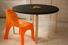 Tischbeine vom Frosta-Hocker von Ikea, runde Holzplatte, Metallschale