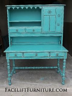 Ornate Vintage Desk with Hutch in Turquoise with Black Glaze.  Distressing reveals original red-orange color. From Facelift Furniture's Desks  Vanities collection.