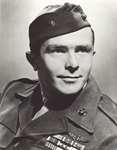 James Elms Swett (June 15, 1920 – January 18, 2009) was a United States Marine Corps fighter pilot and ace during World War II. He was awarded the United States' highest military decoration— the Medal of Honor — for actions while a division flight leader in VMF-221 over Guadalcanal on April 7, 1943. Subsequently he downed a total of 15.5 enemy aircraft during the war, earning eight Distinguished Flying Crosses and four Air Medals. Marine Corps Medals, Us Marine Corps, Battle Of Little Bighorn, Medal Of Honor Recipients, Flying Ace, Fighter Pilot, Usmc, Wwii, Portrait