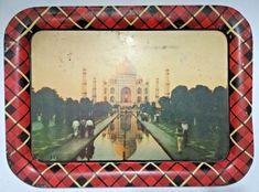Old Antique India Iron Tin Serving Taj Mahal Litho Print Tray Collectible Rare