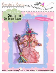 "Stitch-a Little ""Sadie The Spring Witch"" Chart Pack   $11.00 - Includes Shipping (Yes, even International shipping is free.)  Includes: Witchelt Imports' Antique Brown & Metallic Silver perforated paper, Mill Hill seed beads, beading needle and chart with instructions."