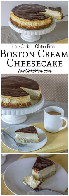 A fabulous low carb Boston cream cheesecake that bakes up in no time. It's got a layer of gluten free cake topped with cheesecake then a layer of chocolate! #keto #ketorecipe #lowcarb #atkins | LowCarbYum.com