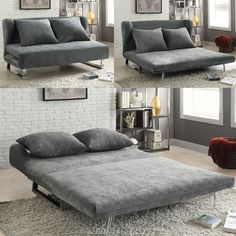 3 In 1 Converts From Sofa To Chaise To Queen Size Bed. How