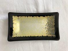 Alchemy Glass Appetizer / Sushi Plate - Gold & Black by 1490glass on Etsy