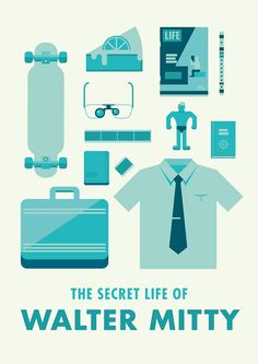 Icon poster based on the movie 'The Secret Life of Walter Mitty'.I attempt to illustrate the iconic objects used throughout the film.Color palette is derived from the blue-green tint in several parts of the movie.