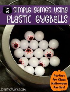 Need some simple Kid's Halloween Party Games? Or in charge of planning the Halloween Class Party? These 5 simple games using plastic eyeballs are perfect for a Class Halloween Party as they require very little prep to set up! #halloweenpartygames #partygames #classhalloweenparty #halloweenparty #eyeballs #eyeballgames #halloweengames