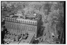 c1915-1920 The Hotel Astor was the first of the hotels to arrive to Times Square, conceived of by William Waldorf as the next iteration of the Waldorf-Astoria Hotel. The French-inspired building had a green copper mansard roof, a Louis XV style Rococo ballroom and a rooftop garden for entertainment, drinking and dining.