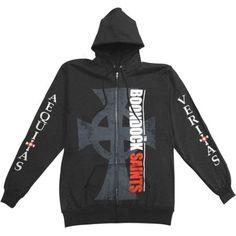 Boondock Saints Men's  Big Cross Zippered Hooded Sweatshirt Black - Walmart.com