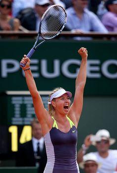 Sharapova Celebrates her win over Azarenka to reach the 2013 French Open Final