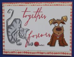 Stamp from Tim Holtz Crazy Dogs & Crazy Cats  Sizzix Thinlets Love  Copic Markers:  N2, N4, E23, E18, E99, R14, YR21, W3  Paper Stampin Up By the Shore  my blog  http://susieque1963.blogspot.com/2017/02/together-forever-no-please.html