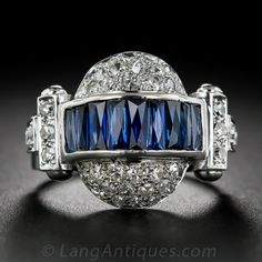 Russian Art Deco Sapphire and Diamond Ring - 30-3-5709 - Lang Antiques