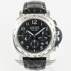 #Panerai PAM000196 Daylight Chronograph 44mm Steel Case Black Dial High Polish Bezel Automatic Watch #PAM196 #OCWatchCompany #WatchStore #WalnutCreek