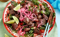"""Shaking beef recipe - By Woman's Day, Indulge in this delicious Vietnamese classic - Bo Luc Luc or """"shaking beef"""". Hearty, wholesome, and full of fresh authentic Asian flavour!"""