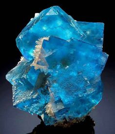 Blue Fluorite with Quartz