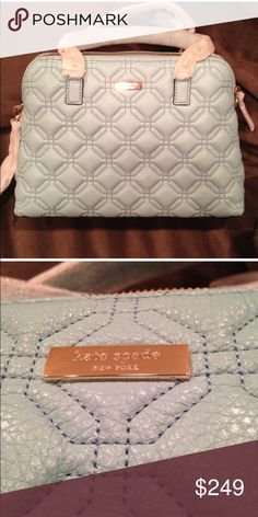 """Kate Spade Baby Blue Quilted Satchel Chain embellished double handles with 8"""" drop Zip around closure with leather pull Inside fabric lining with 1 zip pocket , 2 slip pockets 14.5"""" L X 10.5"""" H X 5"""" D . Crossbody drop 19"""" kate spade Bags Satchels"""