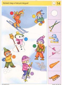 Keresd meg a hiányzó tárgyat! Numbers Preschool, Preschool Books, Preschool Worksheets, Preschool Learning, Winter Activities For Kids, Kids Learning Activities, Brain Activities, Grand And Toy, New Year Diy