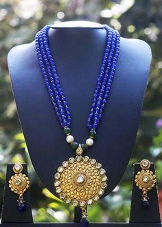 Elegant Pearl, Kundan & Polki Necklace Set – India1001.com