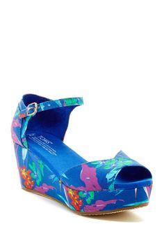 TOMS Bright Blue Printed Wedge Sandal