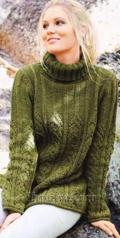 Пуловер с воротником гольф, вязаный спицами