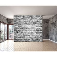 Grey brick texture wall mural, Repositionable peel and stick material... ($480) ❤ liked on Polyvore featuring home, home decor, rooms, backgrounds, empty rooms, interior, wallpaper, gray home decor, grey home decor and personalized home decor