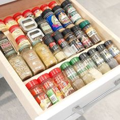 ✔️ Organizing Tip: if you don't have a good spot in your cupboard for your spices, consider using a drawer (ideally one close to your stove). I've recently helped two clients move their spices to a drawer and it's been a win-win. Spice Organization, Organisation Hacks, Room Organization, Organizing Tips, Organising, Denton County, Neat And Tidy, Fort Collins, Staying Organized