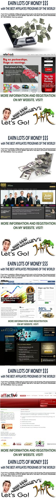 EARN LOTS OF MONEY $$$ with  BEST AFFILIATE PROGRAMS IN WORLD! Visit my website! To Your Success! >> > http://affiliat1.weebly.com/