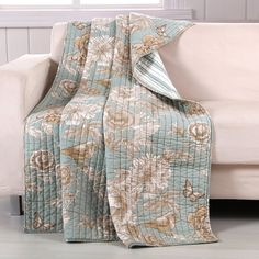 Barefoot Bungalow Naomi Throw creates peaceful garden scene with butterflies, birds and flowers in neutral tones surrounded by aqua green add serenity to your space. Aqua Quilt, Classic Throws, Teal Throws, Bird Quilt, Soft Blankets, Decorative Throws, Cotton Style, Quilt Sets, Home Decor Furniture
