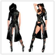 2016 New Arrival Gothic Punk Wetlook Sweet Pea Hooded Coat Latex Pvc Gown Dress Costume Free Drop Shipping + Fast Delivery US $18.39 /piece