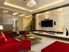 Stylish living room with bright red furniture, white floor, marble wall with flat screen TV